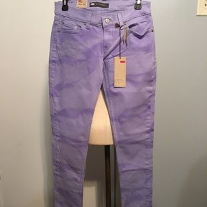 Levi's too super low skinny tie dye purple jeans
